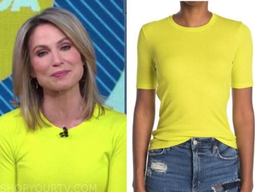 amy robach, yellow short sleeve top, good morning america