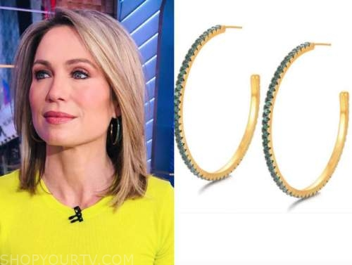 amy robach, gma, green hoop earrings