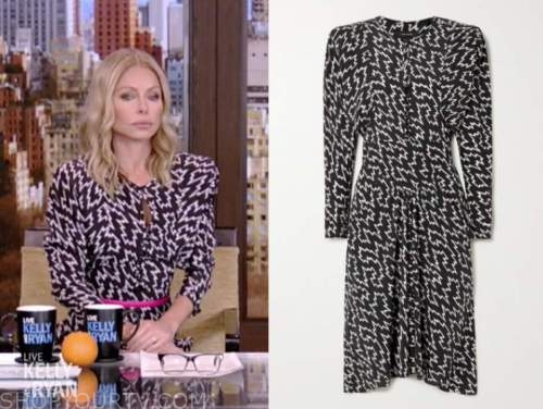 kelly ripa, live with kelly and ryan, black and white printed puff sleeve midi dress