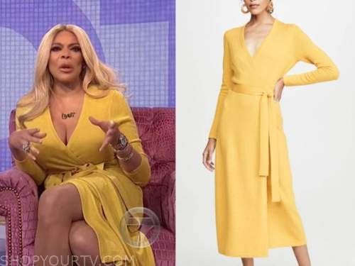 wendy williams, the wendy williams show, yellow cashmere wrap dress