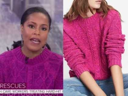 sheinelle jones, the today show, pink cable knit sweater