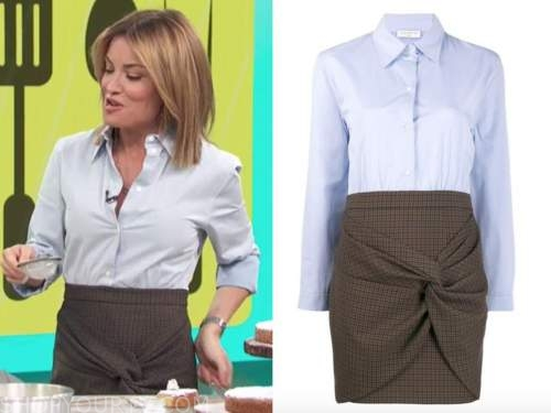 kit hoover, access daily, brown skirt, blue shirt