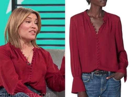 kit hoover, access daily, burgundy button blouse