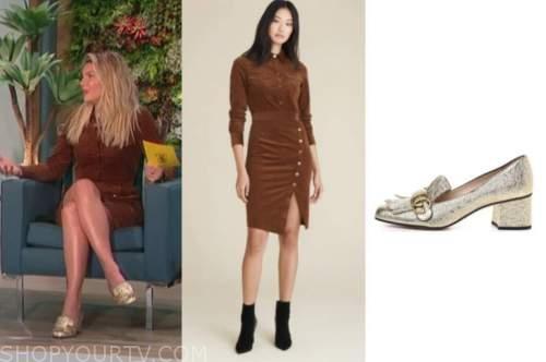 amanda kloots, the talk, brown velvet dress, gold loafers