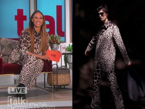 elaine welteroth, the talk, giraffe and leopard print shirt and pants