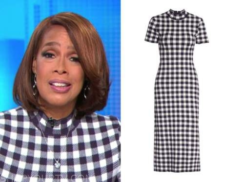 gayle king, cbs this morning, blue and white gingham check dress