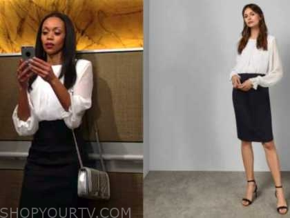 mishael morgan, amanda sinclair, the young and the restless, white blouse, pencil skirt