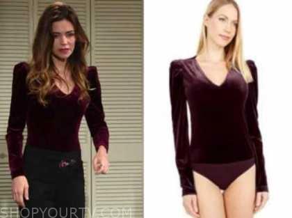 victoria newman, amelia heinle, the young and the restless, burgundy velvet bodysuit top