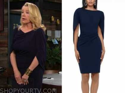 nikki newman, melody thomas scott, the young and the restless, navy blue cape dress