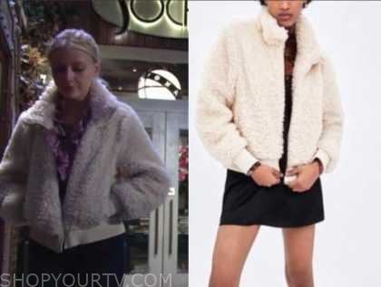 faith newman, alyvia alyn lind, beige fur bomber jacket, the young and the restless