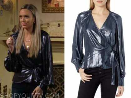 abby newman, melissa ordway, the young and the restless, blue metallic wrap blouse