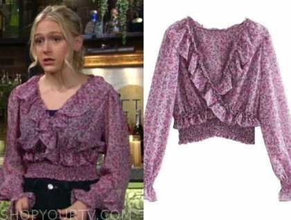 faith newman, alyvia alyn lind, purple floral ruffle top, the young and the restless