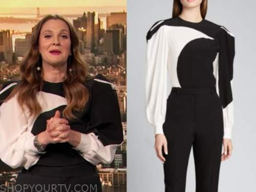 drew barrymore, drew barrymore show, black and white colorblock blouse