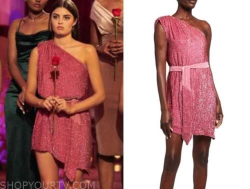 rachael kirkconnell, the bachelor, pink embellished one-shoulder dress