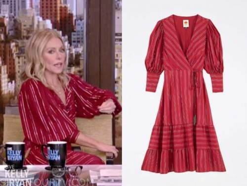 kelly ripa, red metallic stripe dress, live with kelly and ryan