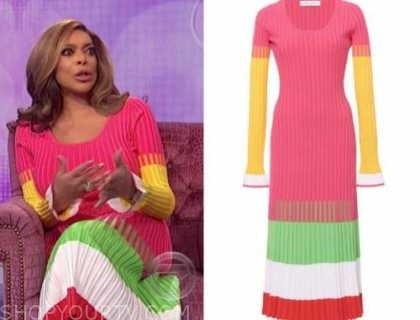 wendy williams, the wendy williams show, colorblock ribbed knit multicolor dress