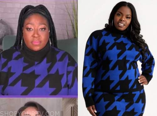 loni love, the real, blue and black houndstooth turtleneck sweater