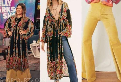 kelly clarkson, the kelly clarkson show, yellow flare pants, black floral tunic top