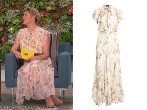 amanda kloots, the talk, white floral tie neck midi dress