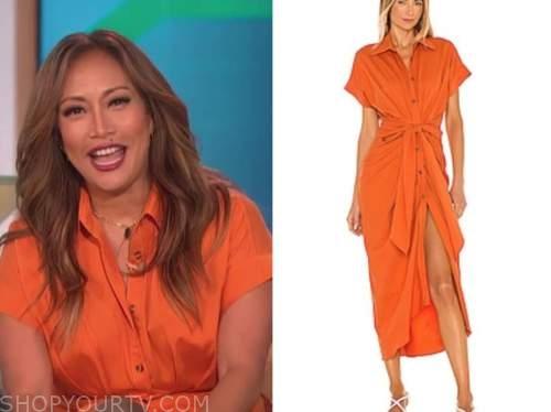 carrie ann inaba, orange shirt dress, the talk