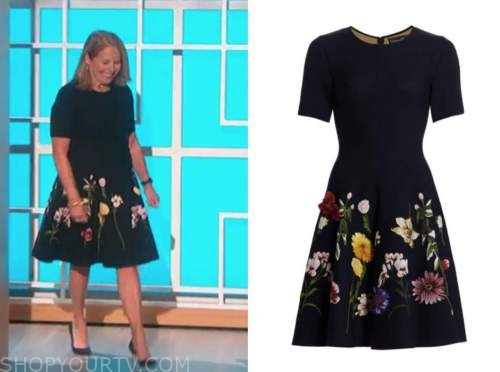 katie couric, embroidered floral dress, the talk