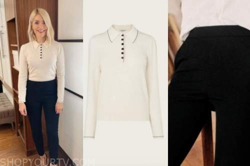 holly willoughby, this morning, ivory collar jumper, black pants