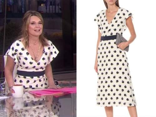 savannah guthrie, the today show, white printed v-neck midi dress