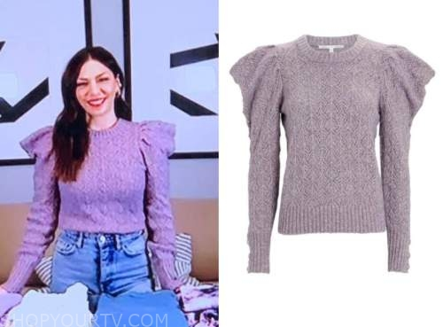 melissa garcia, the today show, purple cable knit puff sleeve sweater