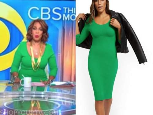 gayle king, cbs this morning, green scoop neck dress