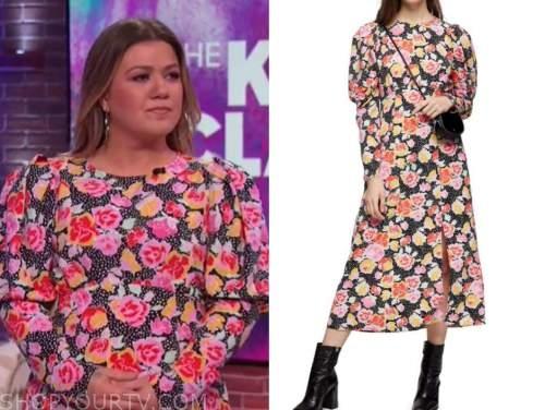kelly clarkson, the kelly clarkson show, floral puff sleeve midi dress