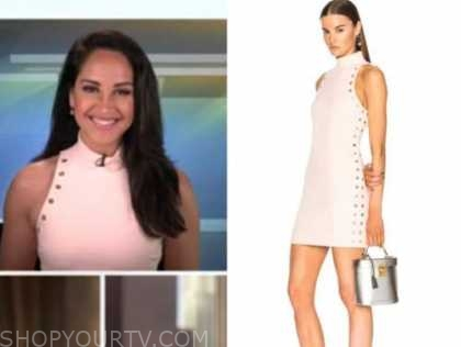 emily compagno, outnumbered, blush pink halter studded dress
