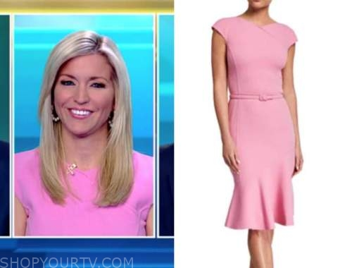 ainsley earhardt, fox and friends, pink belted dress