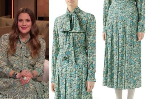 drew barrymore, drew barrymore show, green floral tie neck blouse, green floral skirt