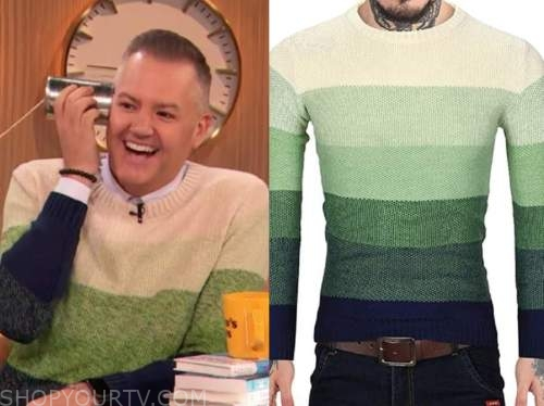 drew barrymore show, ross mathews, green and blue ombre sweater
