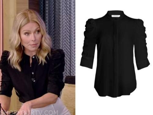kelly ripa, live with kelly and ryan, black ruched sleeve top