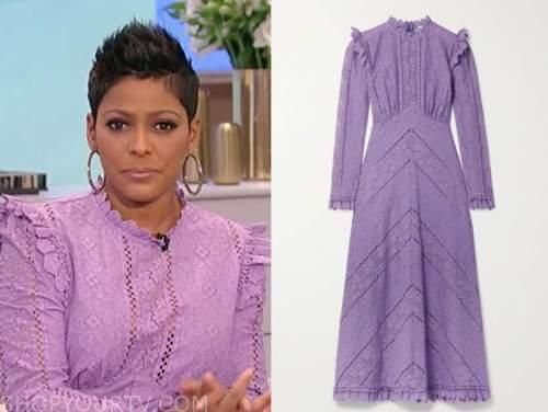 tamron hall, tamron hall show, purple lace midi dress