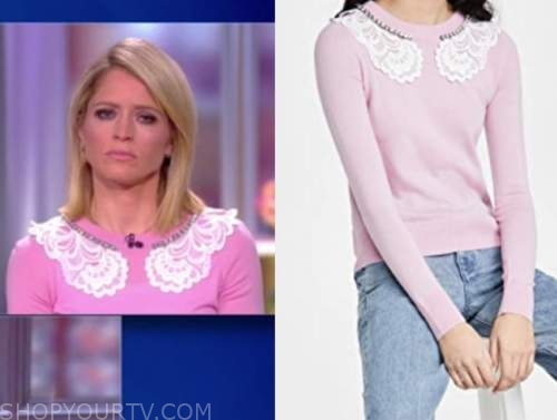 sara haines, the view, pink lace collar sweater