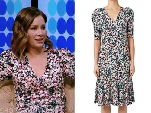 rebecca jarvis, floral v-neck dress, live with kelly and ryan