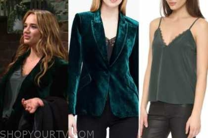 summer newman, hunter king, the young and the restless, green velvet blazer, green cami