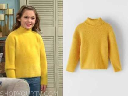 katie abbott newman, the young and the restless, yellow turtleneck, Sienna Mercuri