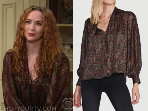 mariah copeland, camryn grimes, the young and the restless, metallic printed blouse