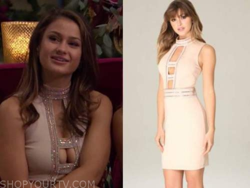 kaili anderson, the bachelor, blush pink embellished cutout dress
