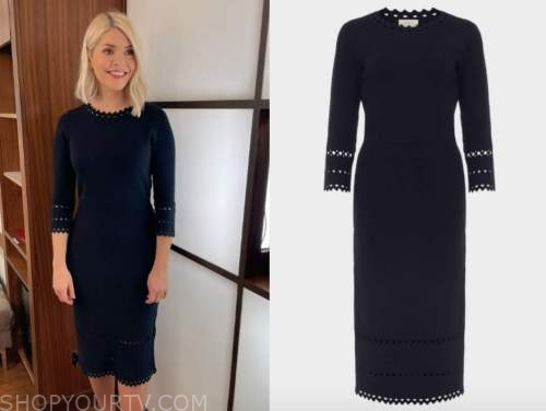 holly willoughby, this morning, navy blue knit dress