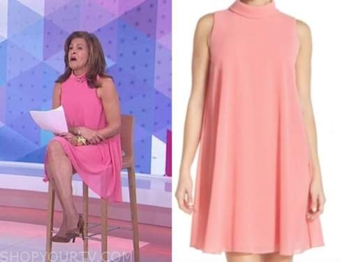 hoda kotb, the today show, pink coral mock neck swing dress