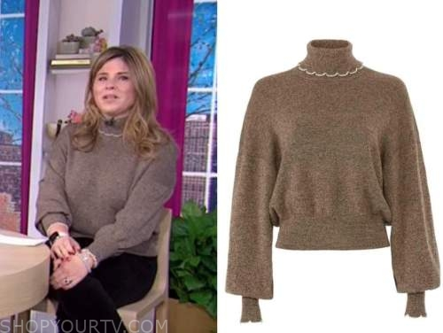 jenna bush hager, the today show, brown scallop turtleneck sweater