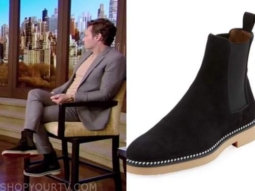 ryan seacrest, live with kelly and ryan, black suede boots