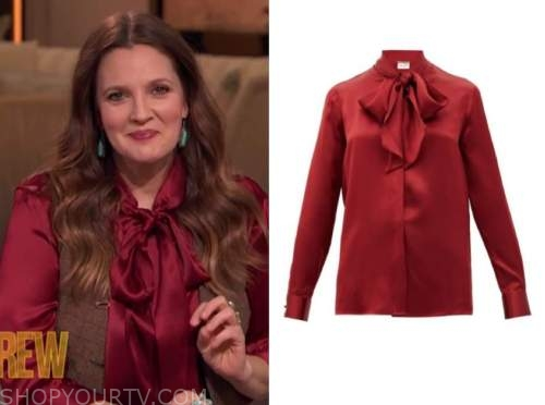 drew barrymore, drew barrymore show, red tie neck silk blouse