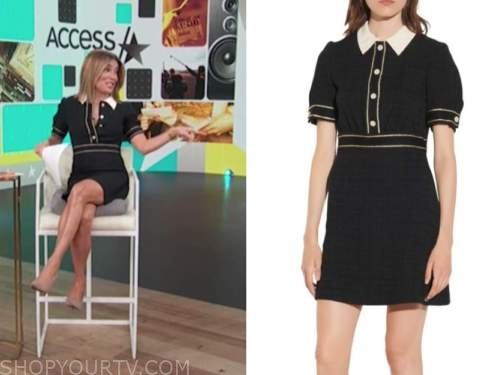 kit hoover, access hollywood, black and white contrast trim collar tweed dress