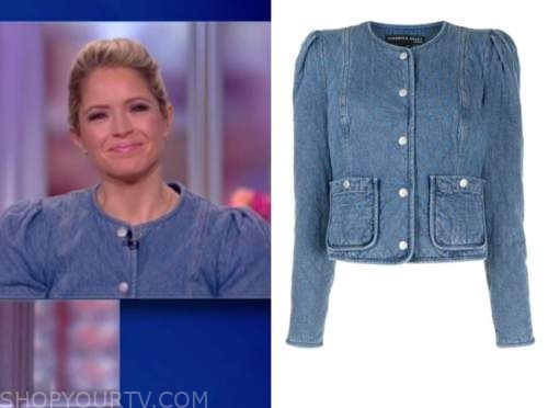 sara haines, the view, denim quilted puff sleeve jacket