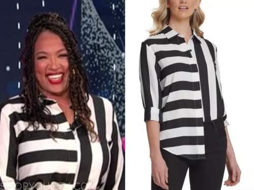 kym whitley, black and white striped shirt, E! news, daily pop